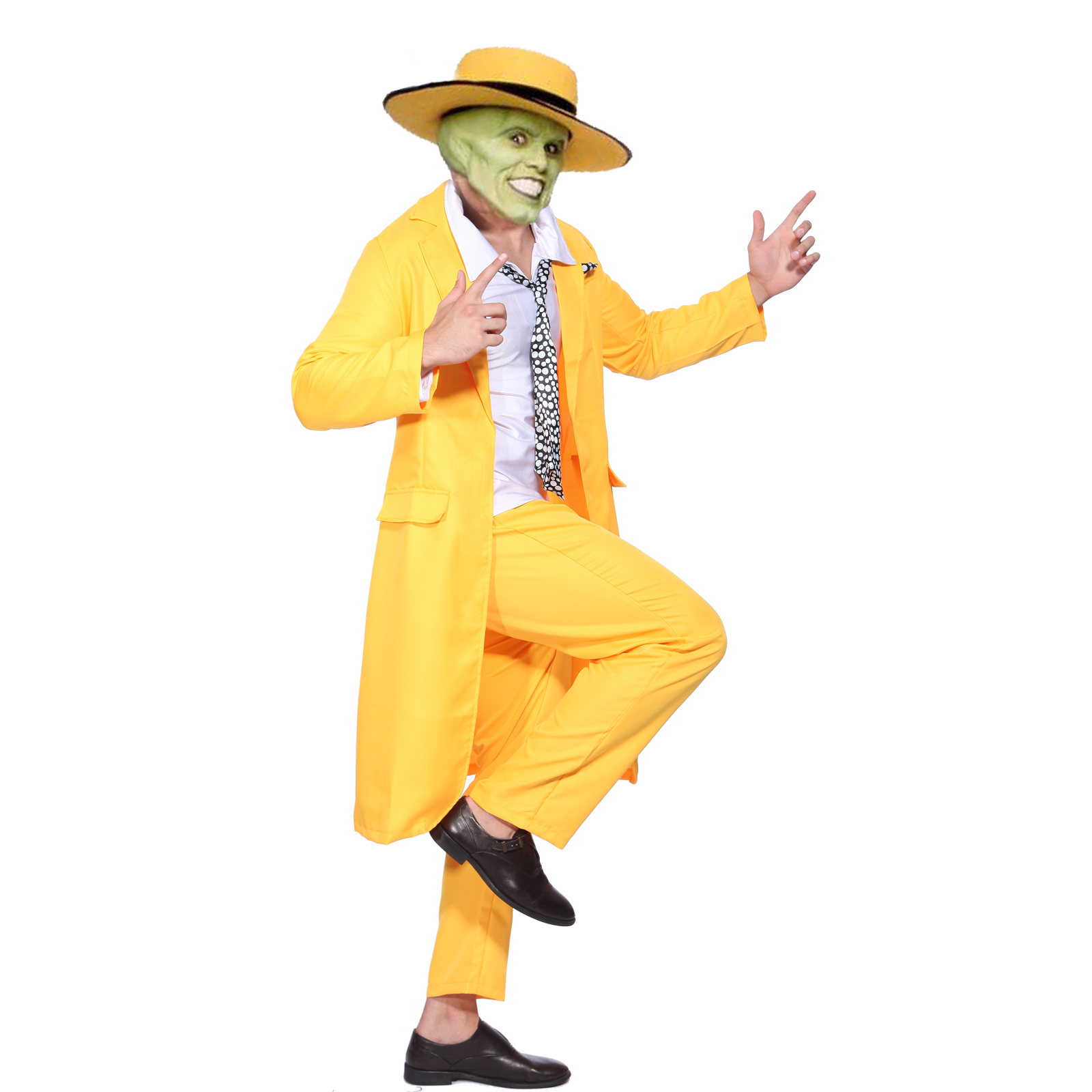 Détails sur 90 S The Mask Jim Carrey Costume Jaune Gangster Costume Fancy  Dress Cosplay Costume, afficher le titre d\u0027origine