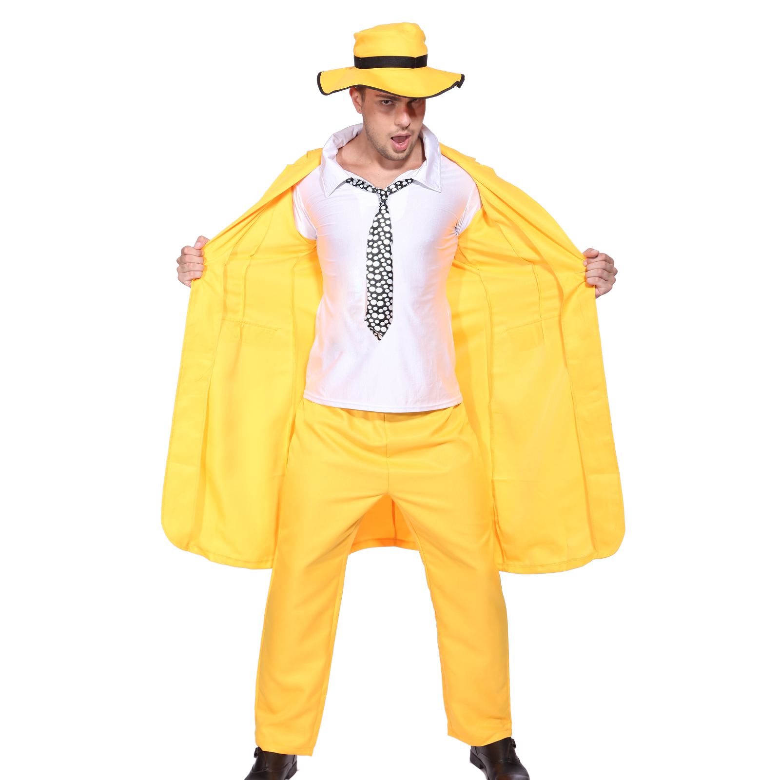the mask jim carrey costume 90s movie yellow gangster suit