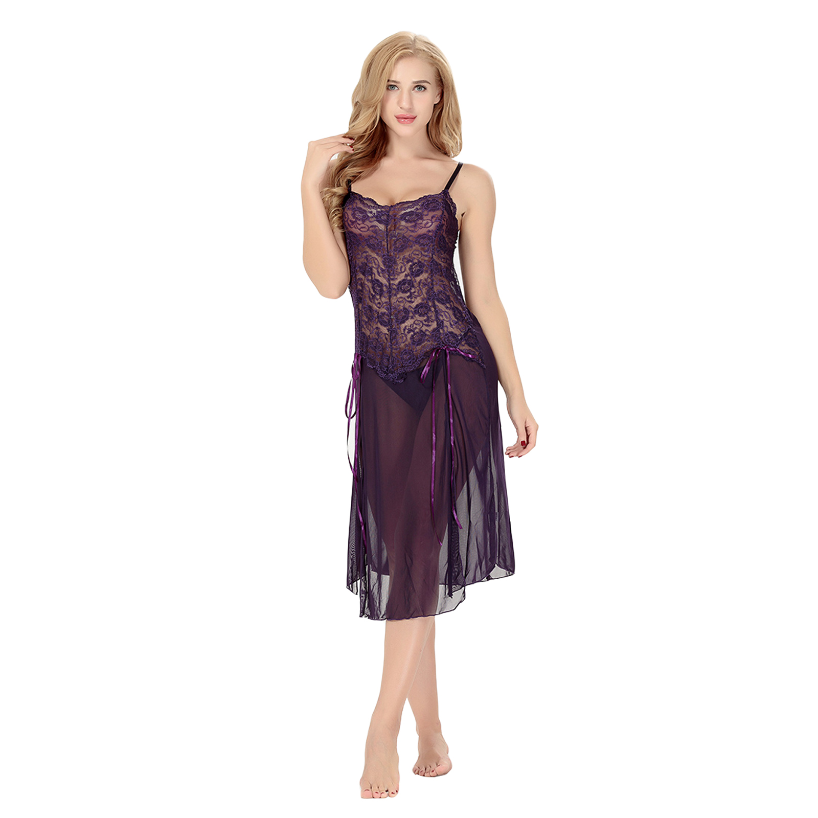 Lastest Womens Ladies Lace V-Neck Satin Chemise Babydoll Night Dress Nightwear Nightie | EBay