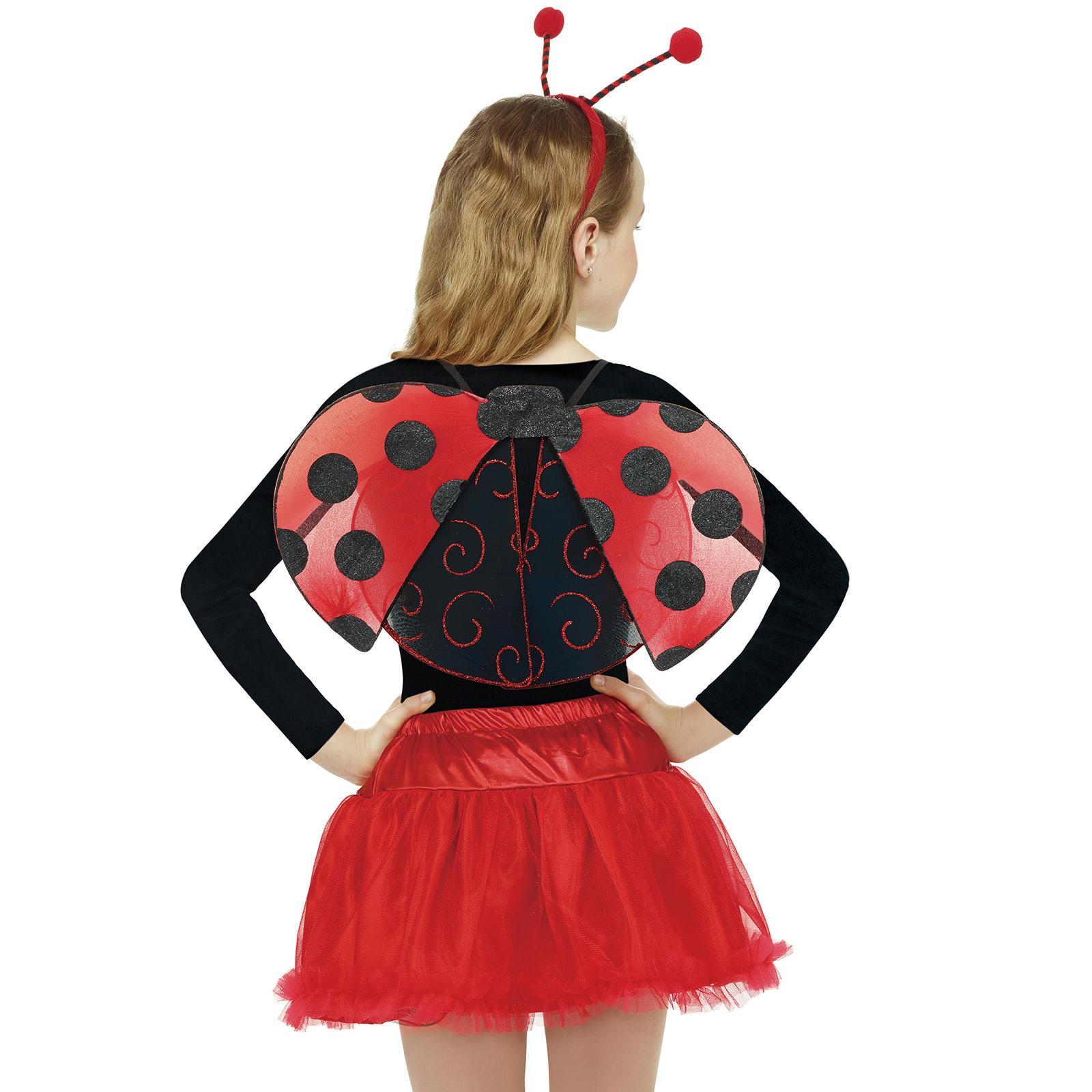 Girls Ladybug Ladybird Bumble Bee Insect Bug Fancy Dress Costume Wings 3 Pcs