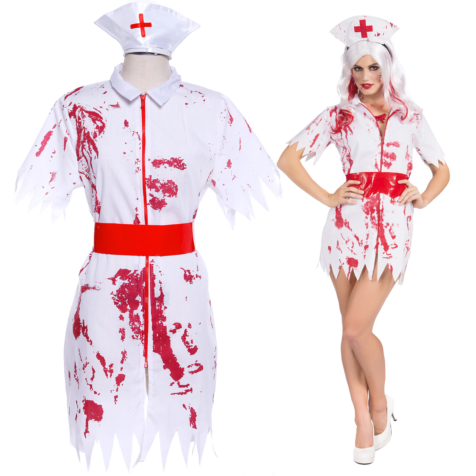 NEW Bloodthirsty Zombie Nurse Living Dead Ladies Halloween Fancy Dress Costume
