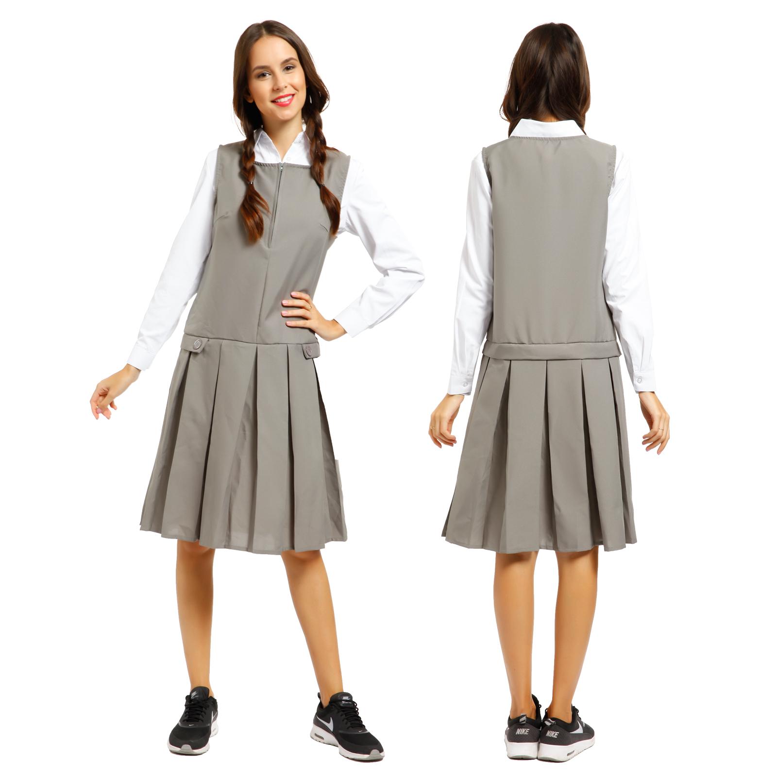 3bef4a2fa2 Girls School Uniform School Wear Sleeveless Zip Front Pleated Pinafore Dress  | eBay