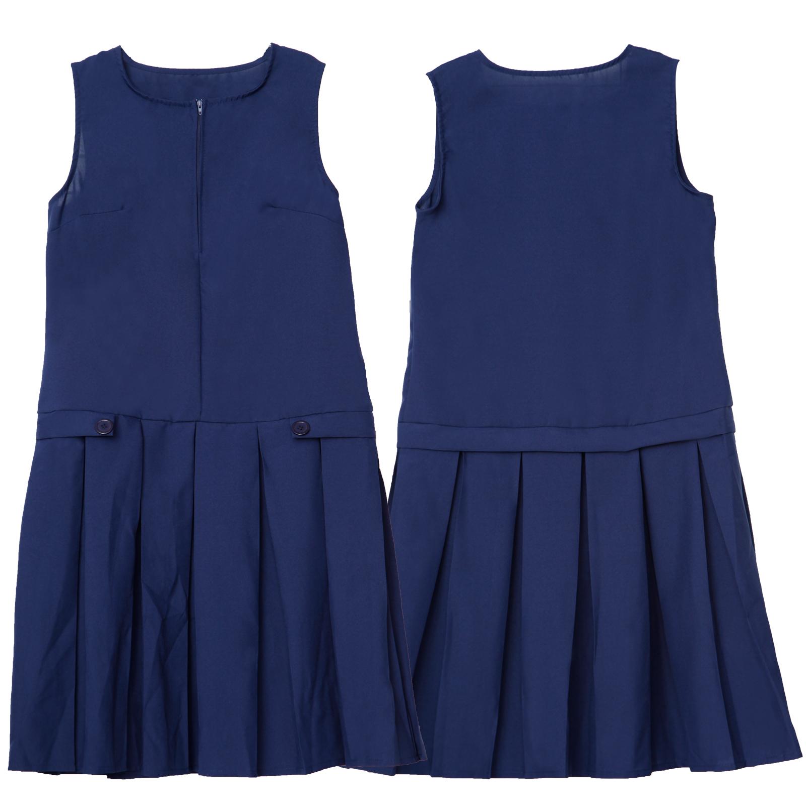 720a855166 Ages 13-16 Girls Kids Summer Pinafore School Pleated Dress Uniform Grey  Black | eBay