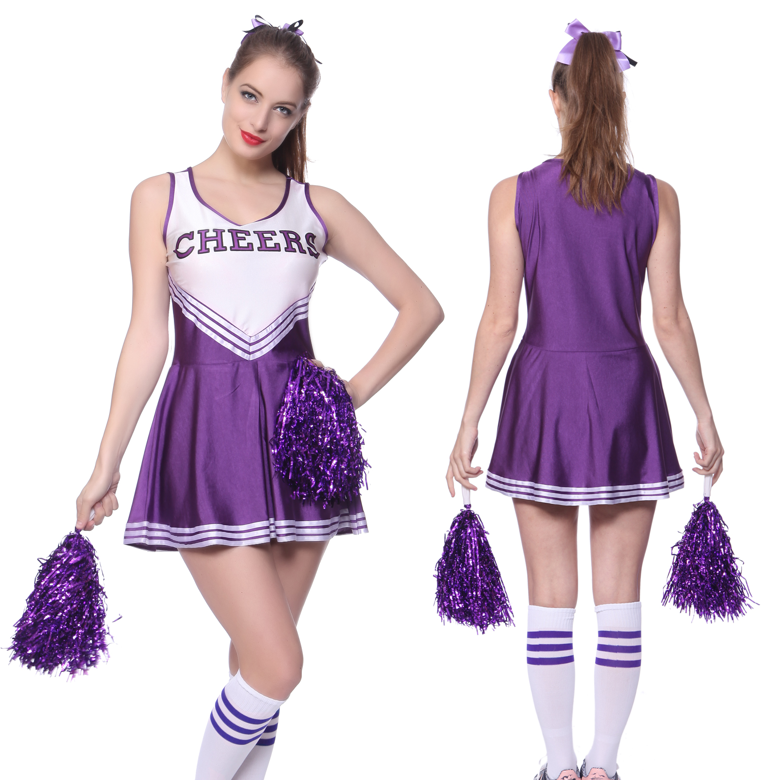 Women cheerleader uniform school girl fancy dress costume outfit women cheerleader uniform school girl fancy dress costume outfit pompom or socks ebay solutioingenieria Images