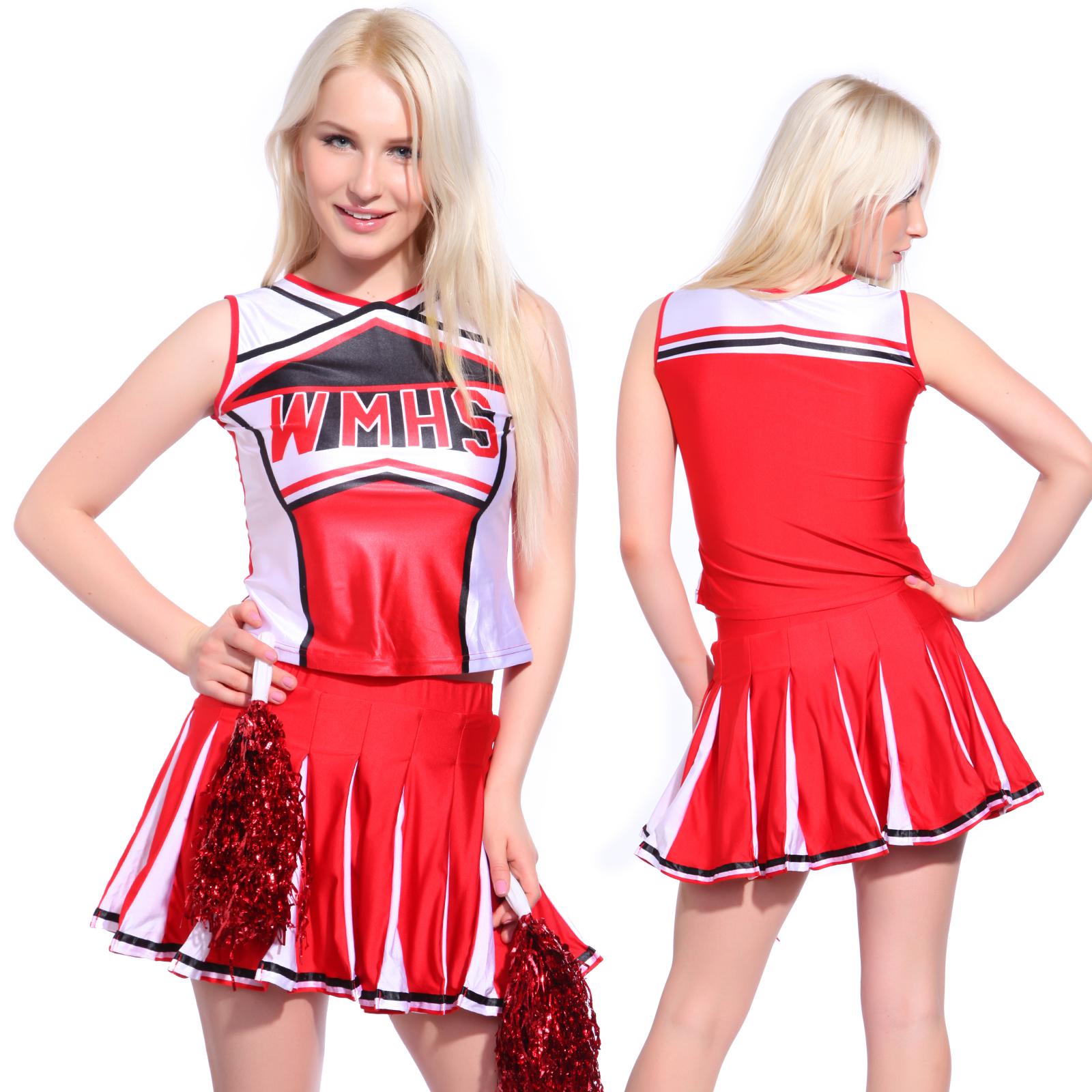 Glee Style Cheerleader Cheerios Costume Cheer Girl Cheerleading Outfit w Pompoms | eBay  sc 1 st  eBay & Glee Style Cheerleader Cheerios Costume Cheer Girl Cheerleading ...