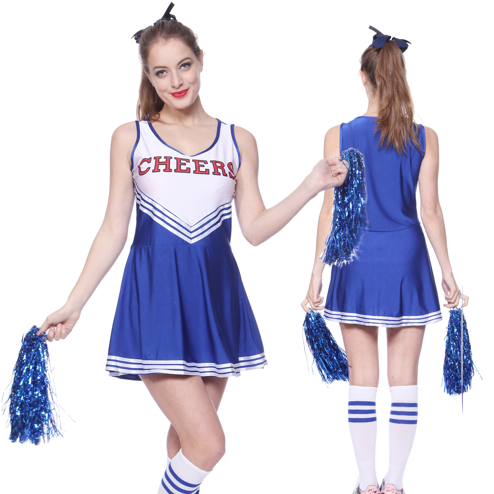 Women Cheerleader Uniform School Girl Fancy Dress Costume Outfit Pompom or Socks | eBay  sc 1 st  eBay & Women Cheerleader Uniform School Girl Fancy Dress Costume Outfit ...