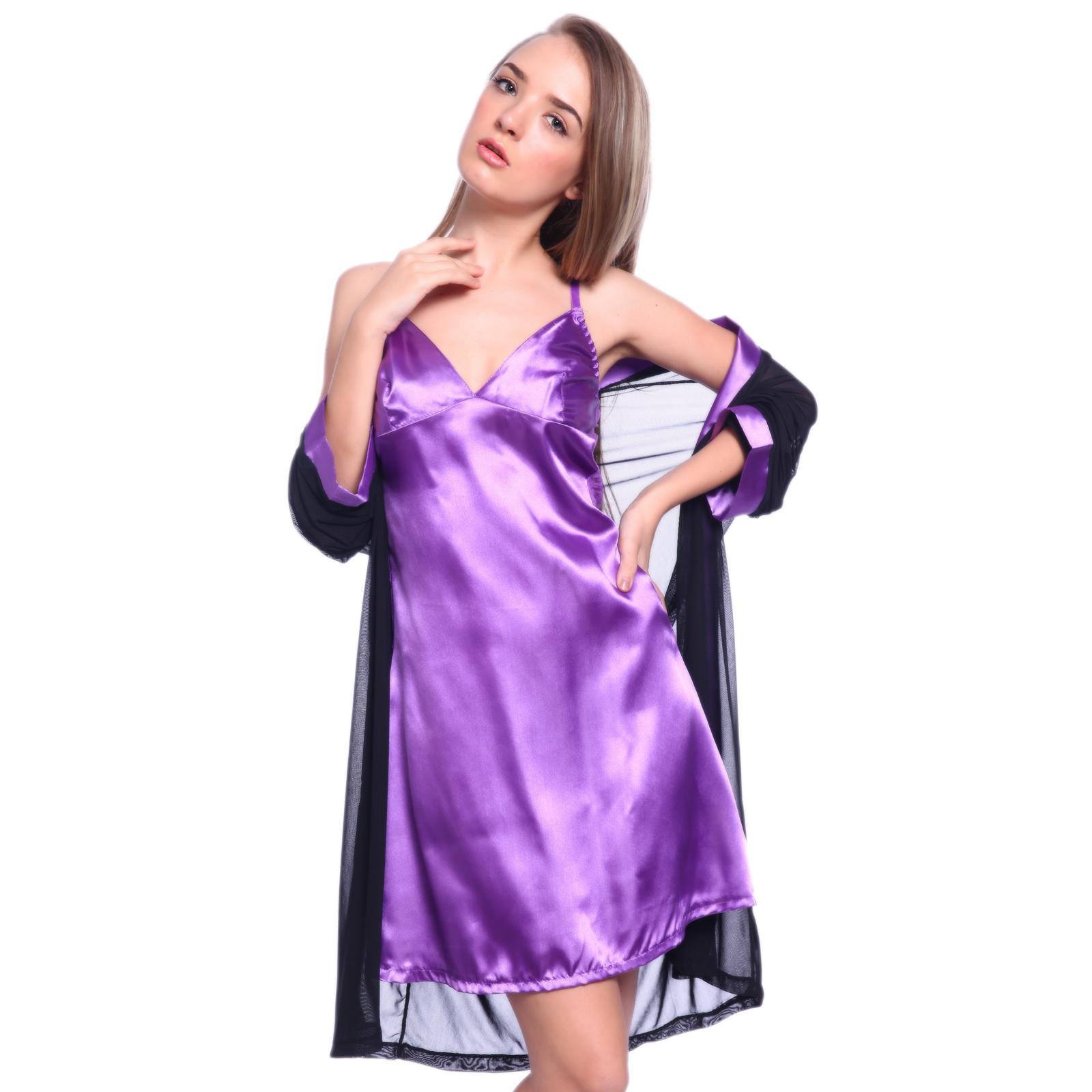 Women Purple Satin Silk Lace Sleepwear Dress Robe Pyjamas Night Gown  Nightdress  a1bde2014