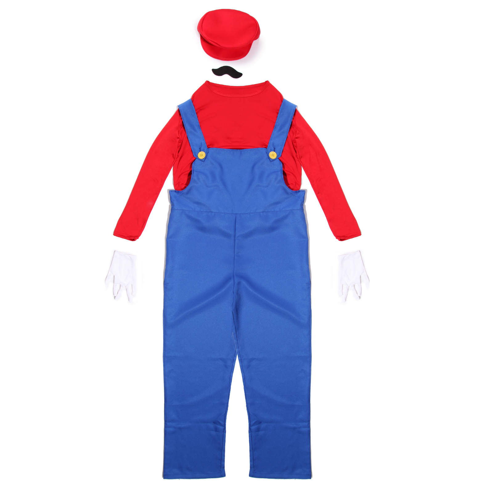 mens super mario and luigi bros fancy dress workman plumber