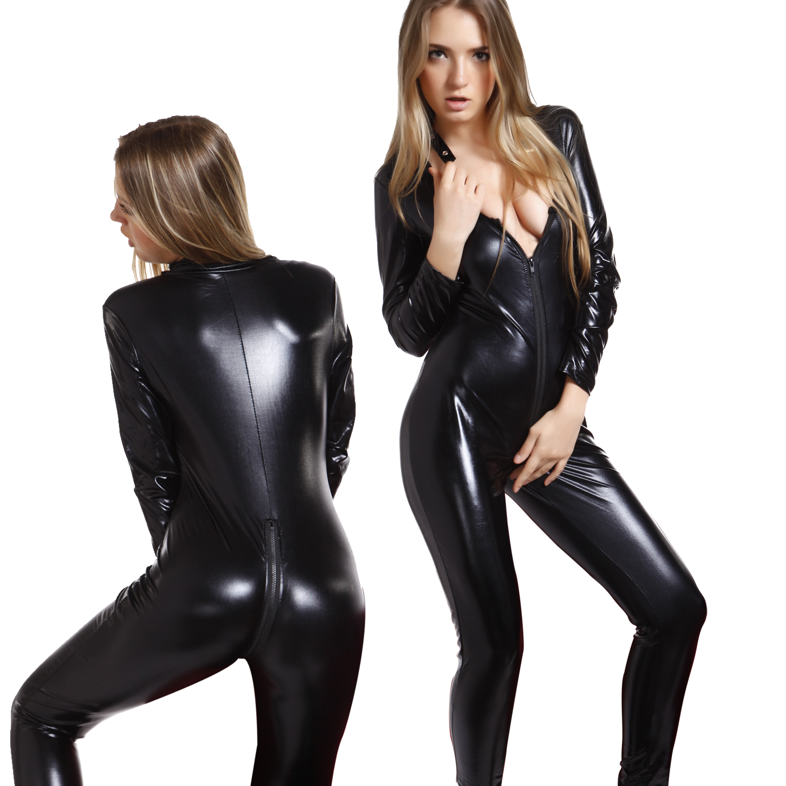 e8824a5367c Details about Catwomen Jumpsuit PU Leather Catsuit Costume Party Outfit  Dress Cosplay Bodysuit