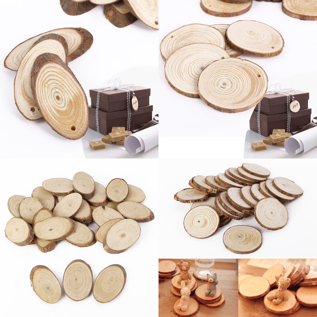 Wooden Bark Tree Slices Round Shaped Wood Craft Paint Scene many patterns