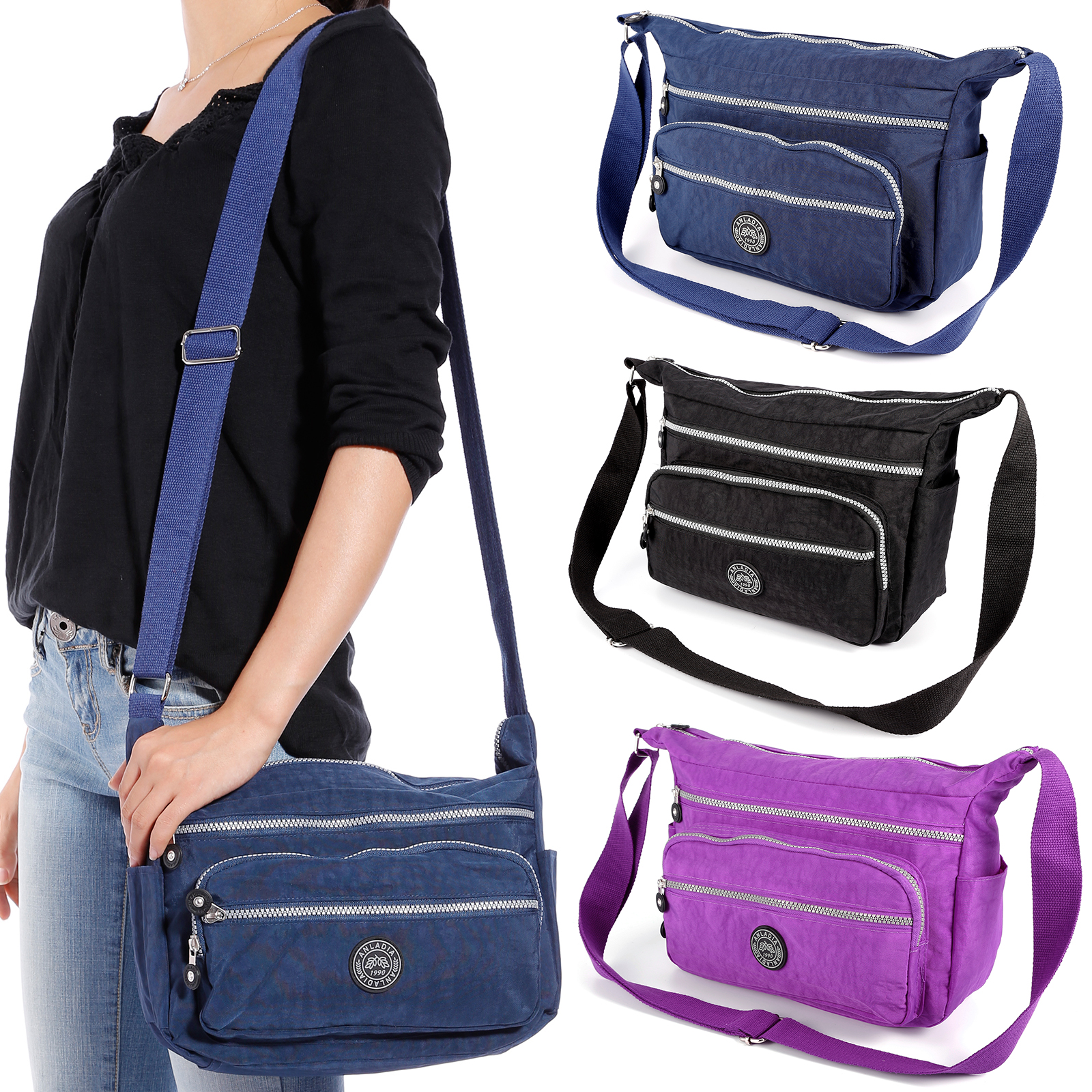 85c444959315 Details about Women s Multi Pocket Nylon Messenger Bags Cross Body Shoulder  Bag Travel Purse