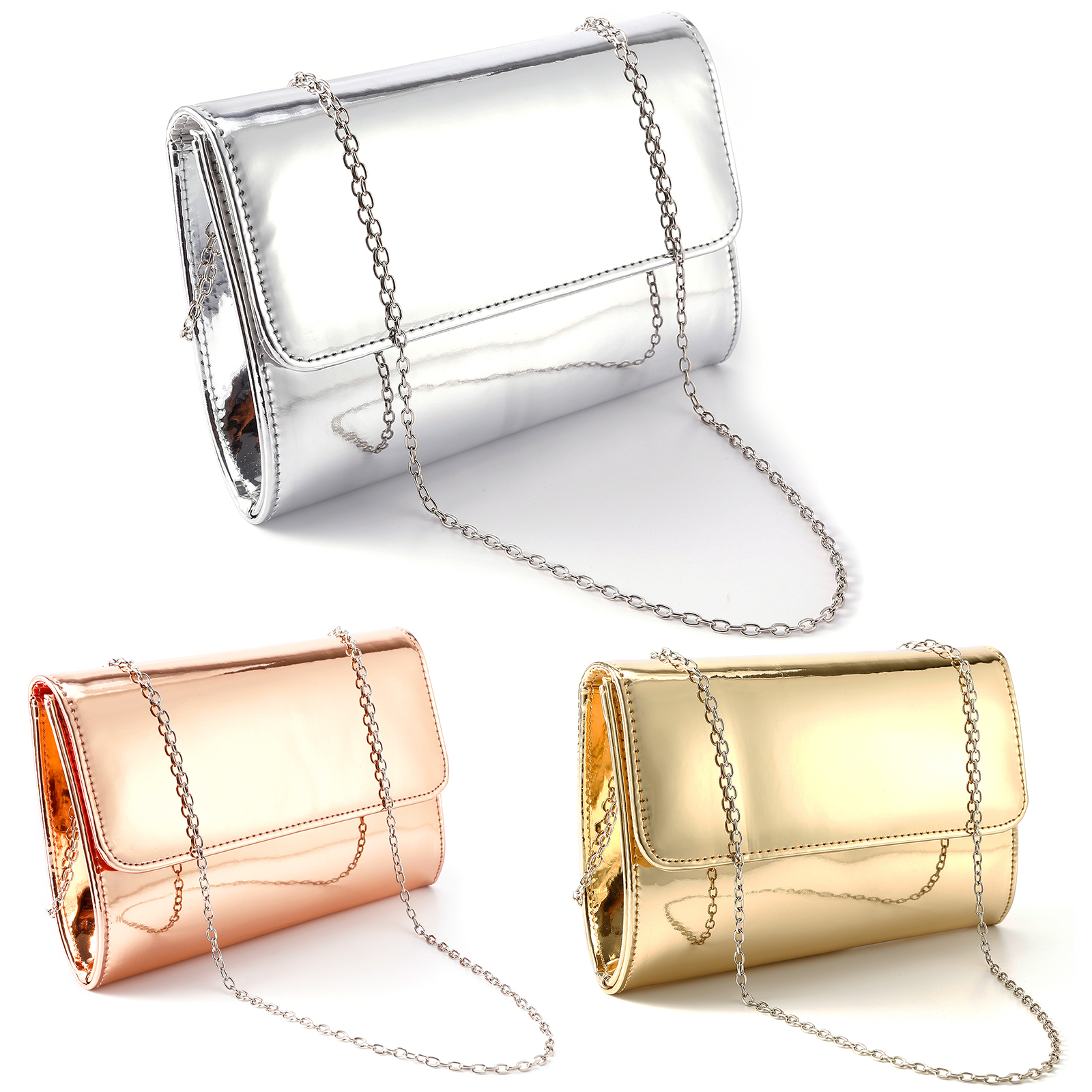 New Faux Leather Glitter Finish Metal Trim Detail Bridal Prom Clutch Bag
