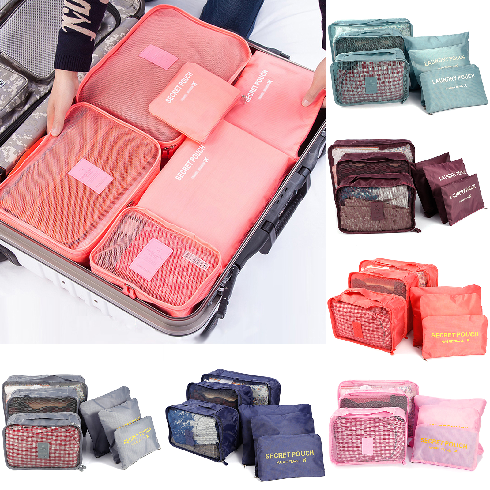 Packing Cubes For Travel Color : Yellow 6 Sets Luggage Organiser Storage Bags Suitcase Compression Pouches