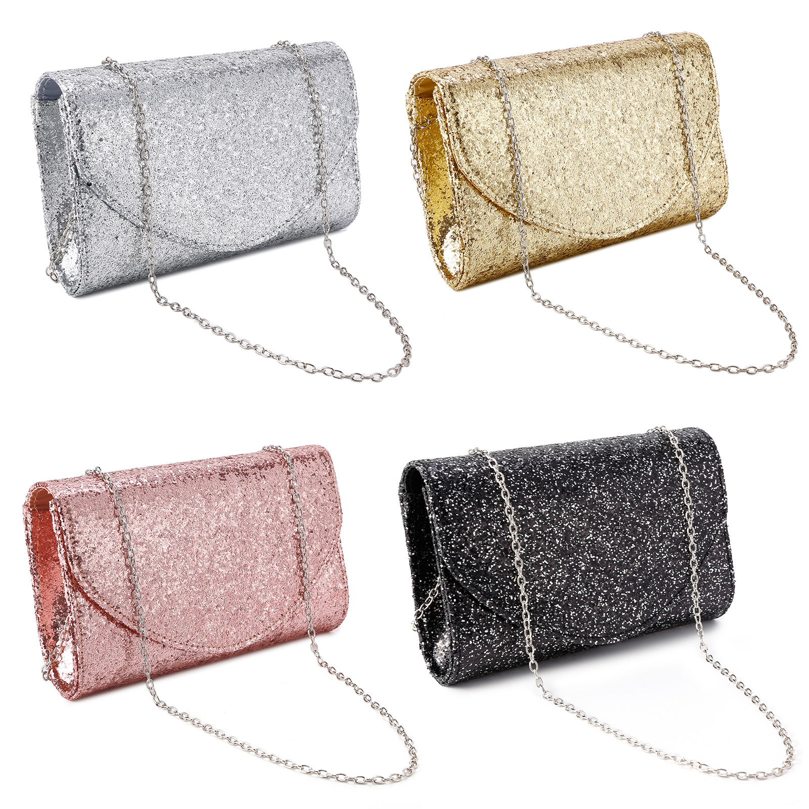 06a5876cb8 Image is loading Women-Lady-Glitter-Evening-Party-Clutch-Messenger-Chain-