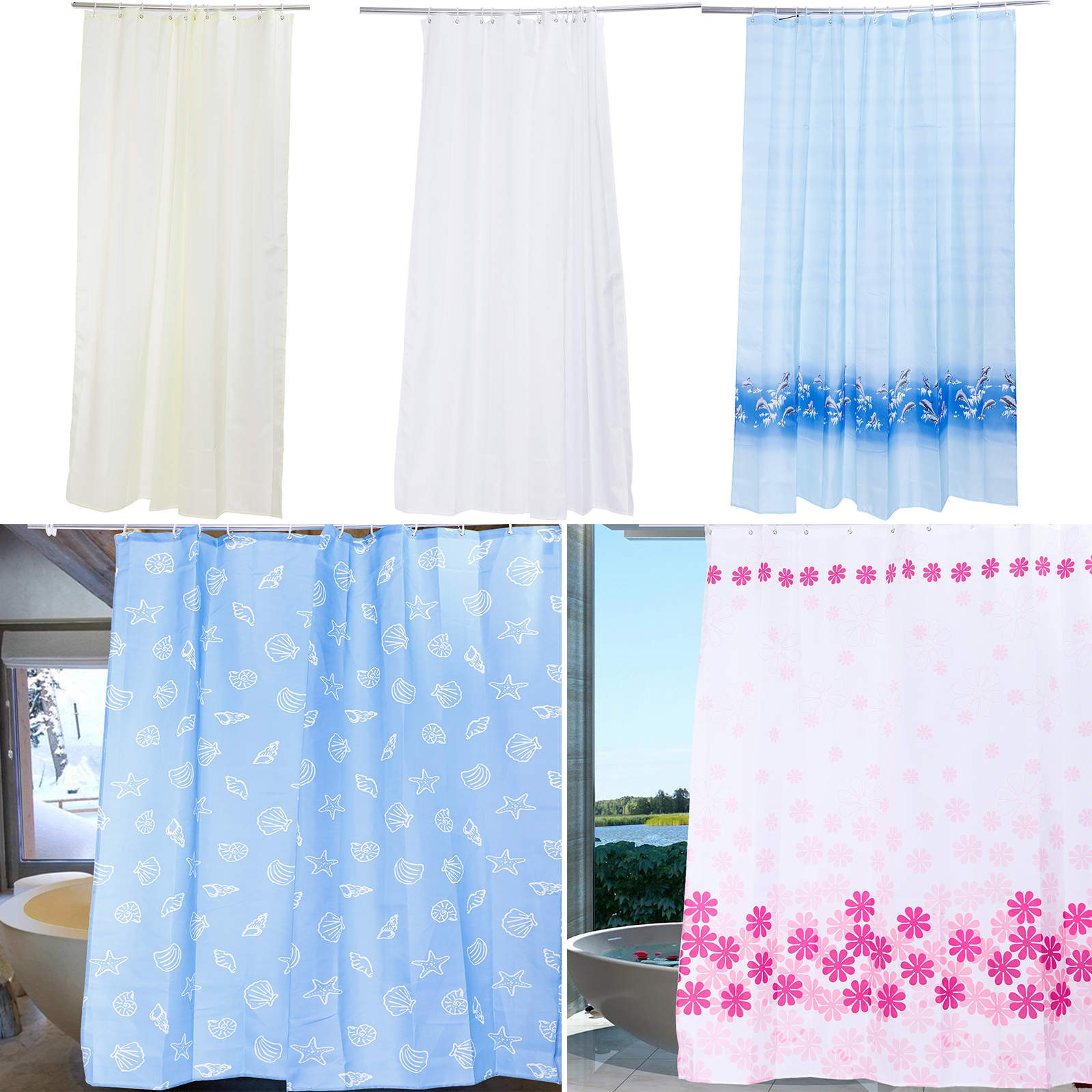 Antibacterial Shower Curtains, Different Sizes, Extra Wide, Narrow ...