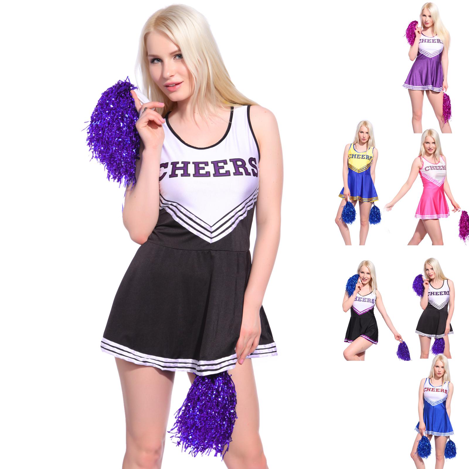 Girls Cheerleader Uniform School Girl Costume Full Outfits Fancy Dress Costume