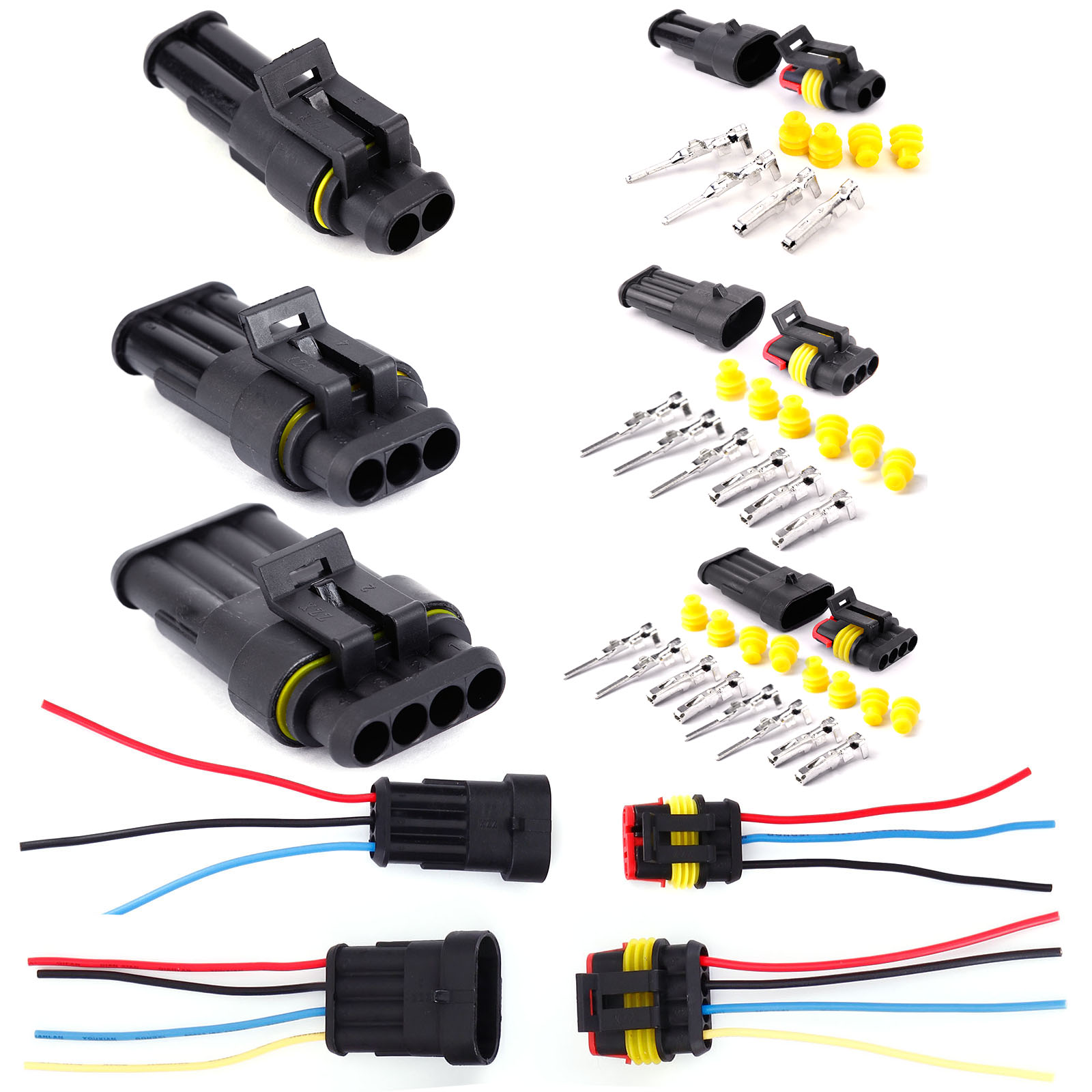 2 3 4 PIN WAY ELECTRICAL WATERPROOF CONNECTORS PLUG SET OF 5/10PCS ...