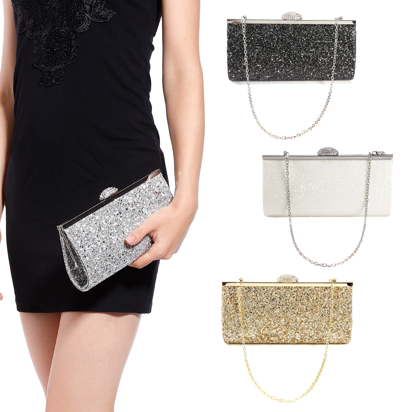 Ladies Evening Clutch Bag// Bridal Party Purse Handbag Sparkle Glitter For Women