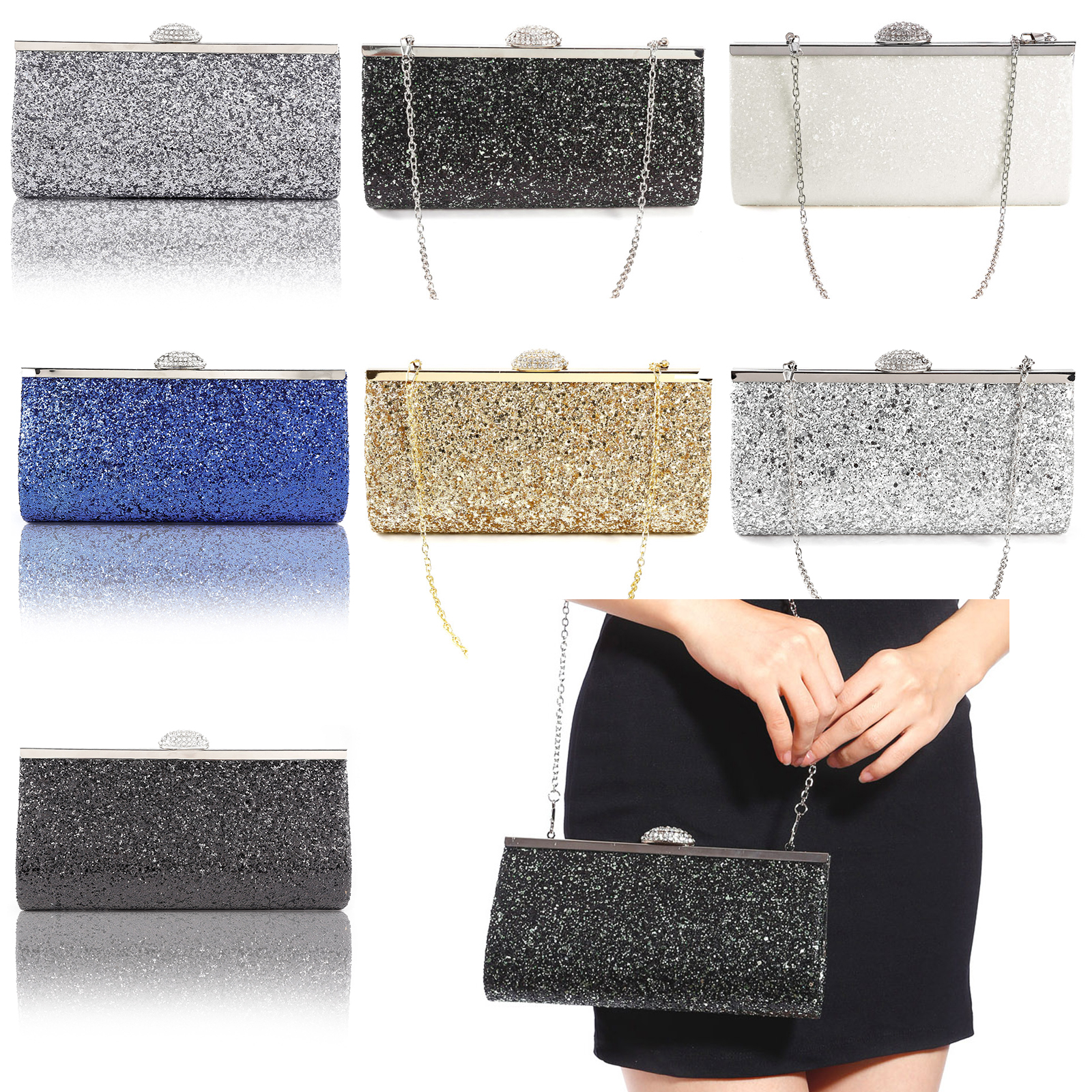 95878b9d46 Women Sparkly Glitter Clutch Bag Wedding Bridal Evening Handbag Purse 4  Colours