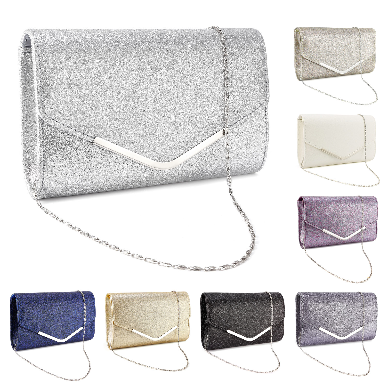 LADIES SHIMMER GLITTER BRIDAL PARTY EVENING PROM ENVELOPE CLUTCH BAG