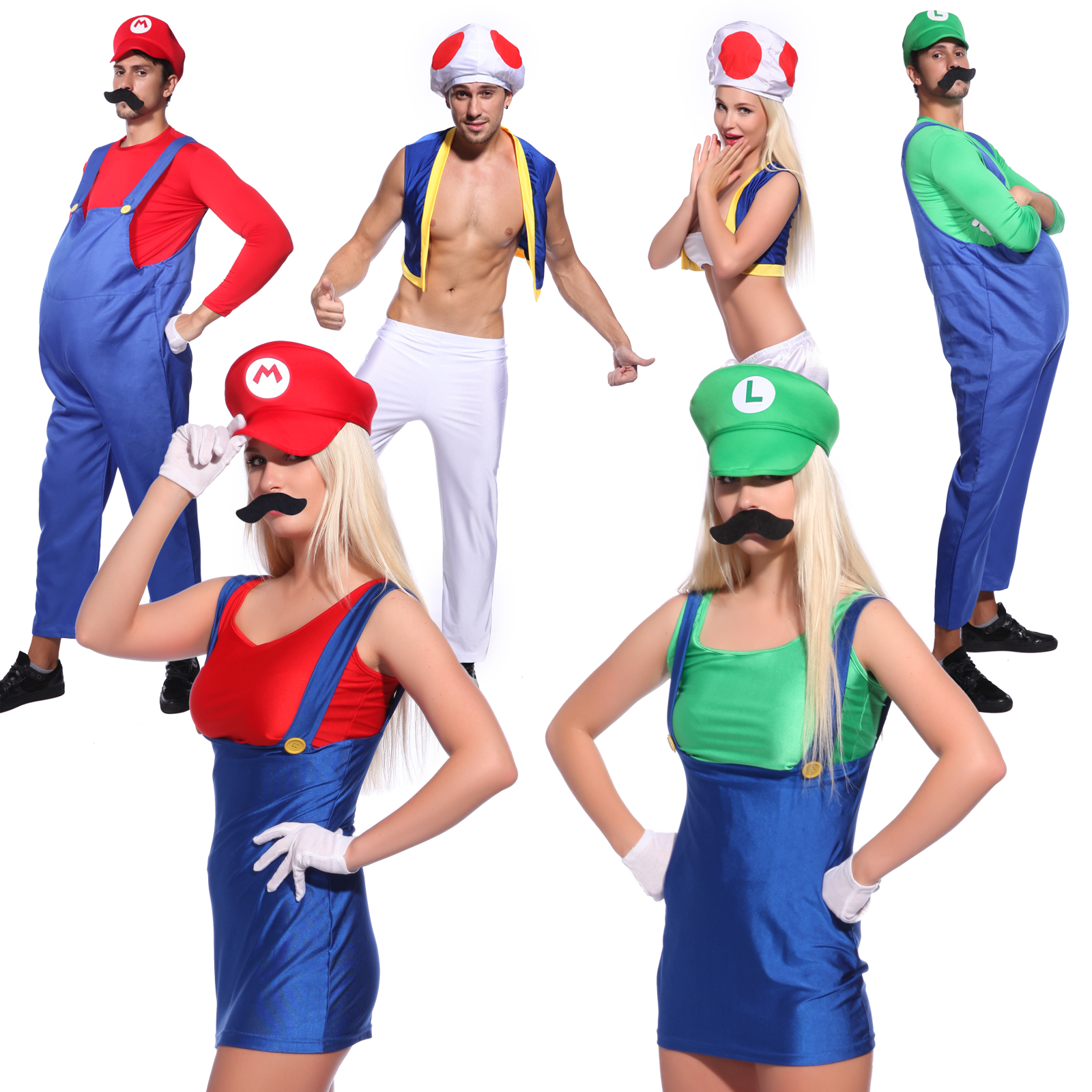 Luigi Fancy Dress Plumber Workman Mario Costume Boys With Opt Gloves Mustache