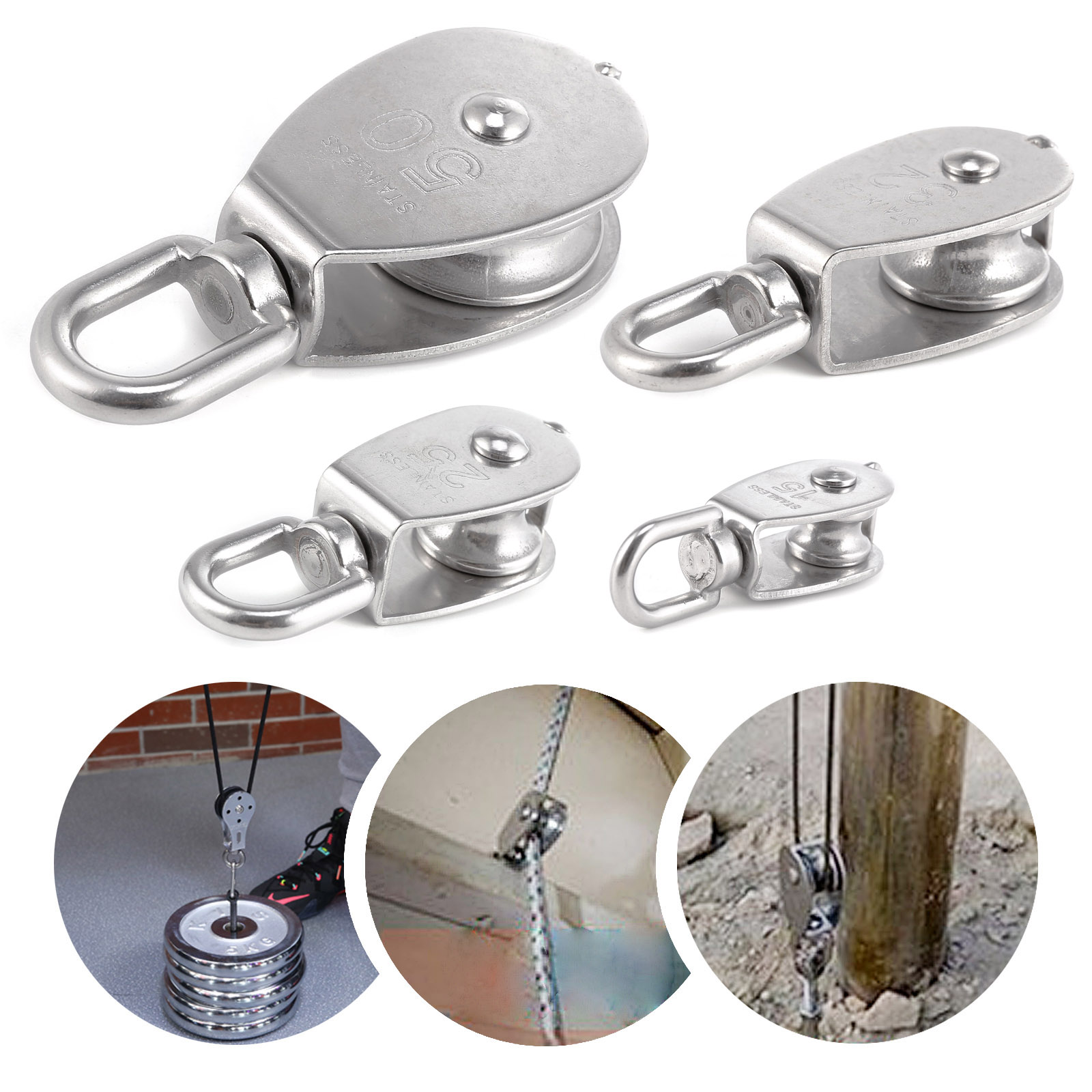 M15 M25 M32 M50 Swivel 304 Stainless Steel Wire Rope Single-sheaved ...