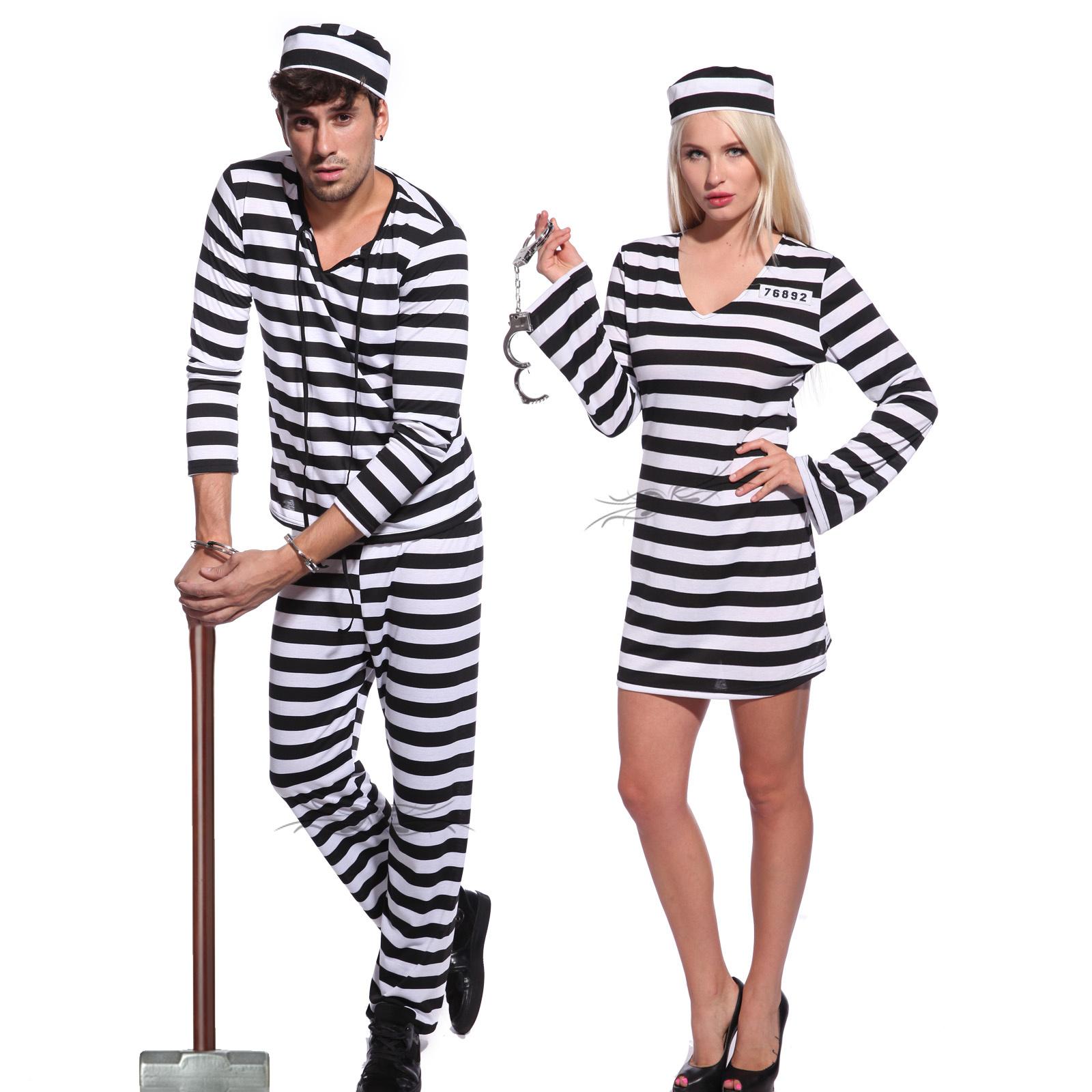 Adult couples jail prisoner jailbird convict costume hen night item specifics solutioingenieria Image collections
