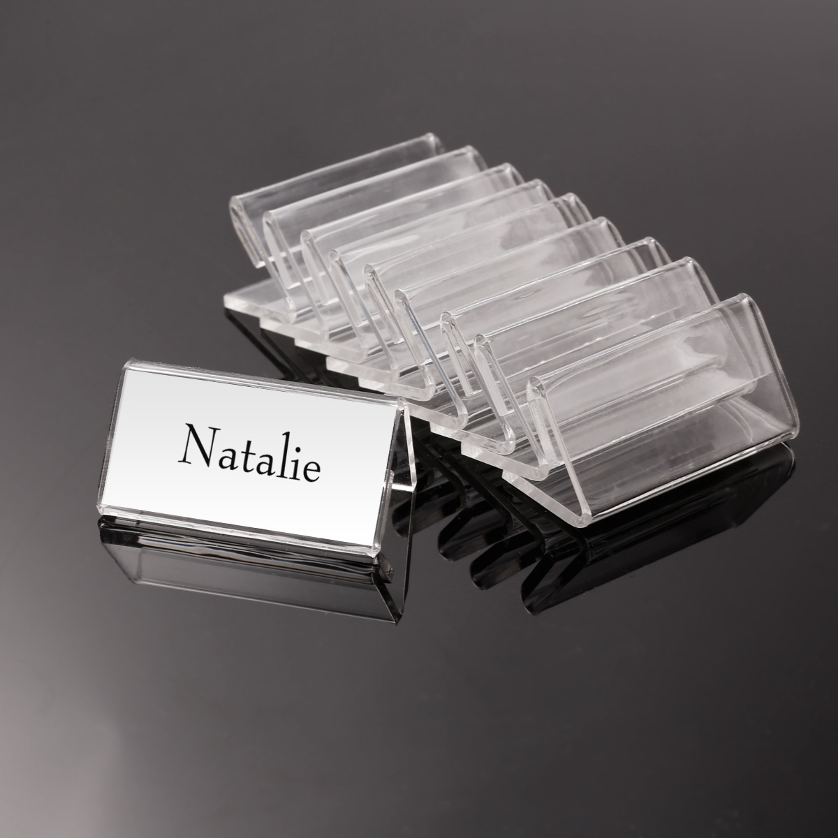 50pcs mini clear price sign display holder name card tag label stand