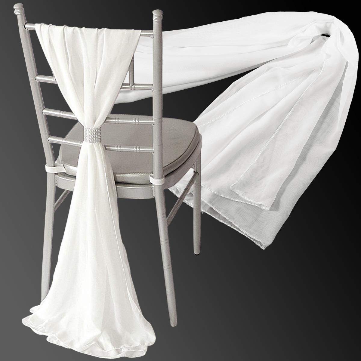 Bulk Of 10pcs Chiffon Vertical Drops Chair Cover Tie Bow