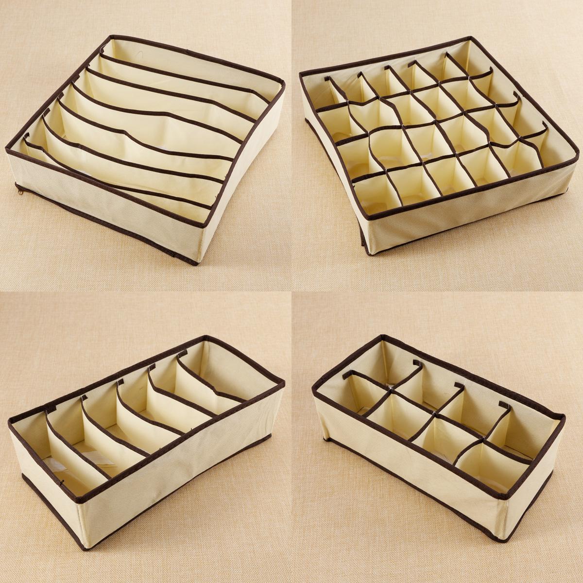 4 PCS Set Foldable Organizer Storage Box For Bra Ties ...