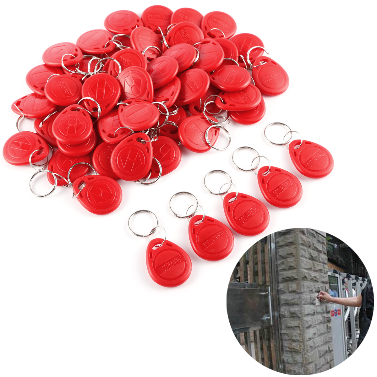 Details about 50x 125KHz Duplicator Copy RFID Tag Access Card Sticker Key  Fob Token Ring Blue