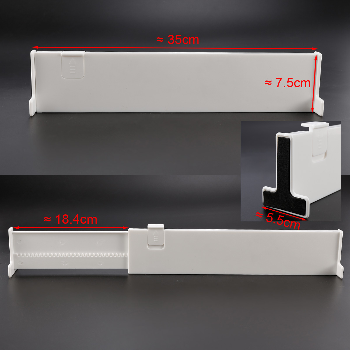 SET 4 DRAWER DIVIDERS WHITE CLIP LOCKED EXPANDABLE KITCHEN BEDROOM ORGANISER NEW