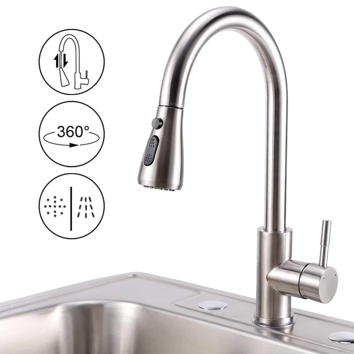 Pull Out Low Pressure Stainless Steel Kitchen Sink Sprayer