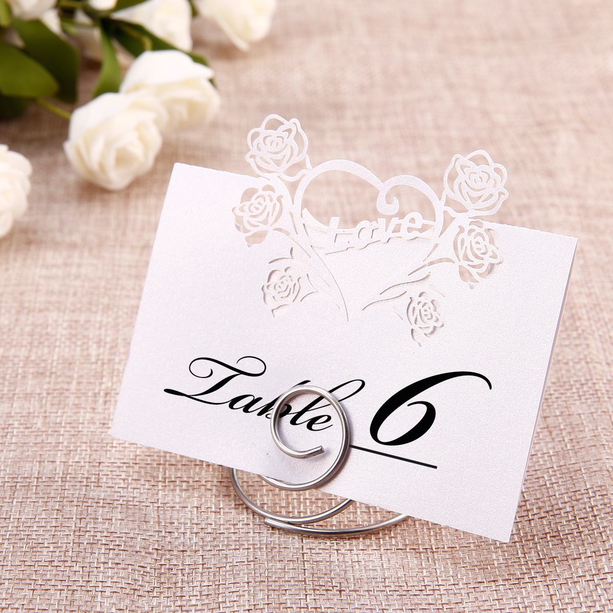 24 Pack Iron Wire Name Place Cards Stand Holder Table Wedding Party Decorations