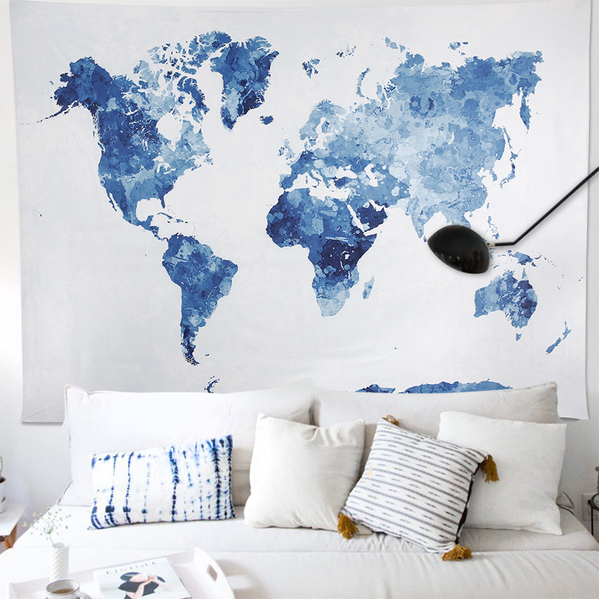 Details about Hanging Tapestry Abstract Painting Polyester Wall Blanket  Home Decor World Map
