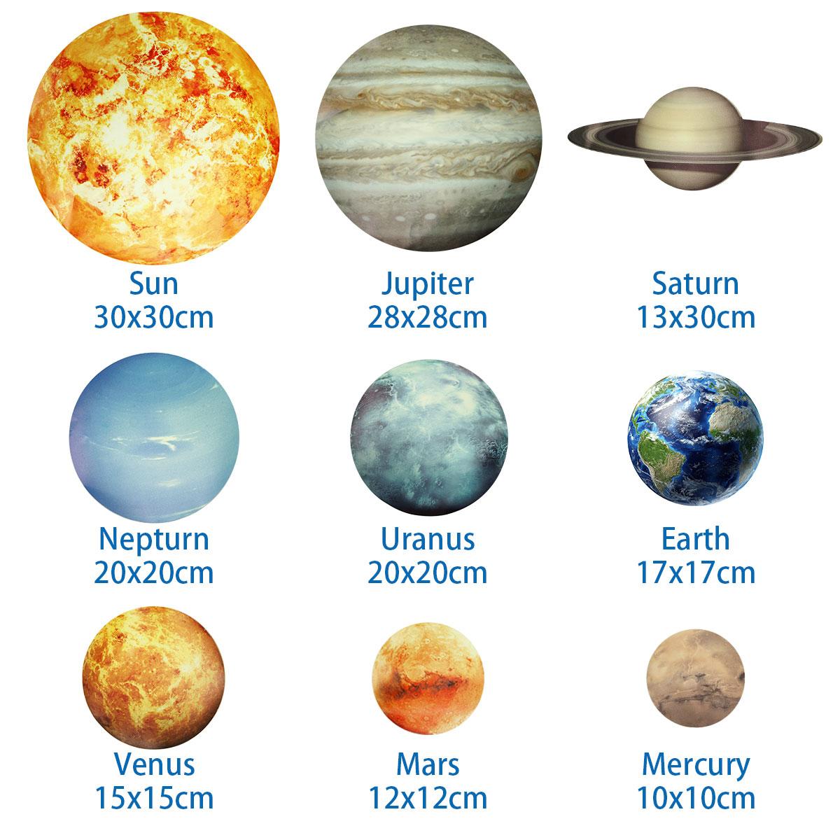 Nove tipi Sistema Solare Wall Stickers spazio a tema adesivi da Parete Murali