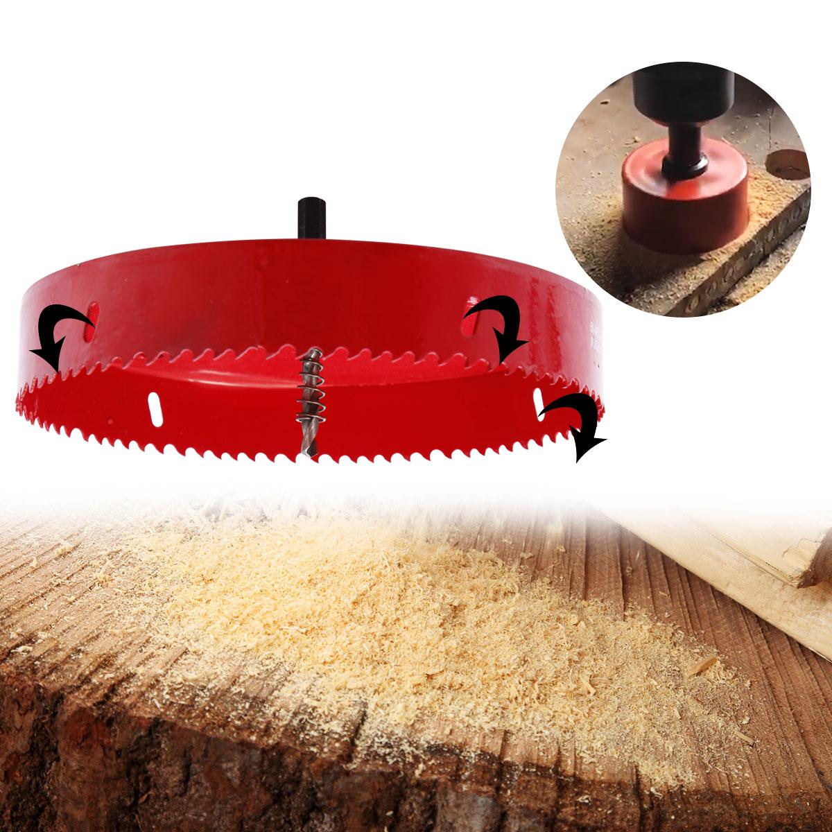8.5-20cm Hole Saw Drill Bit Set Holesaw Cutter Cut Arbor Pilot Wood BI M42 Metal