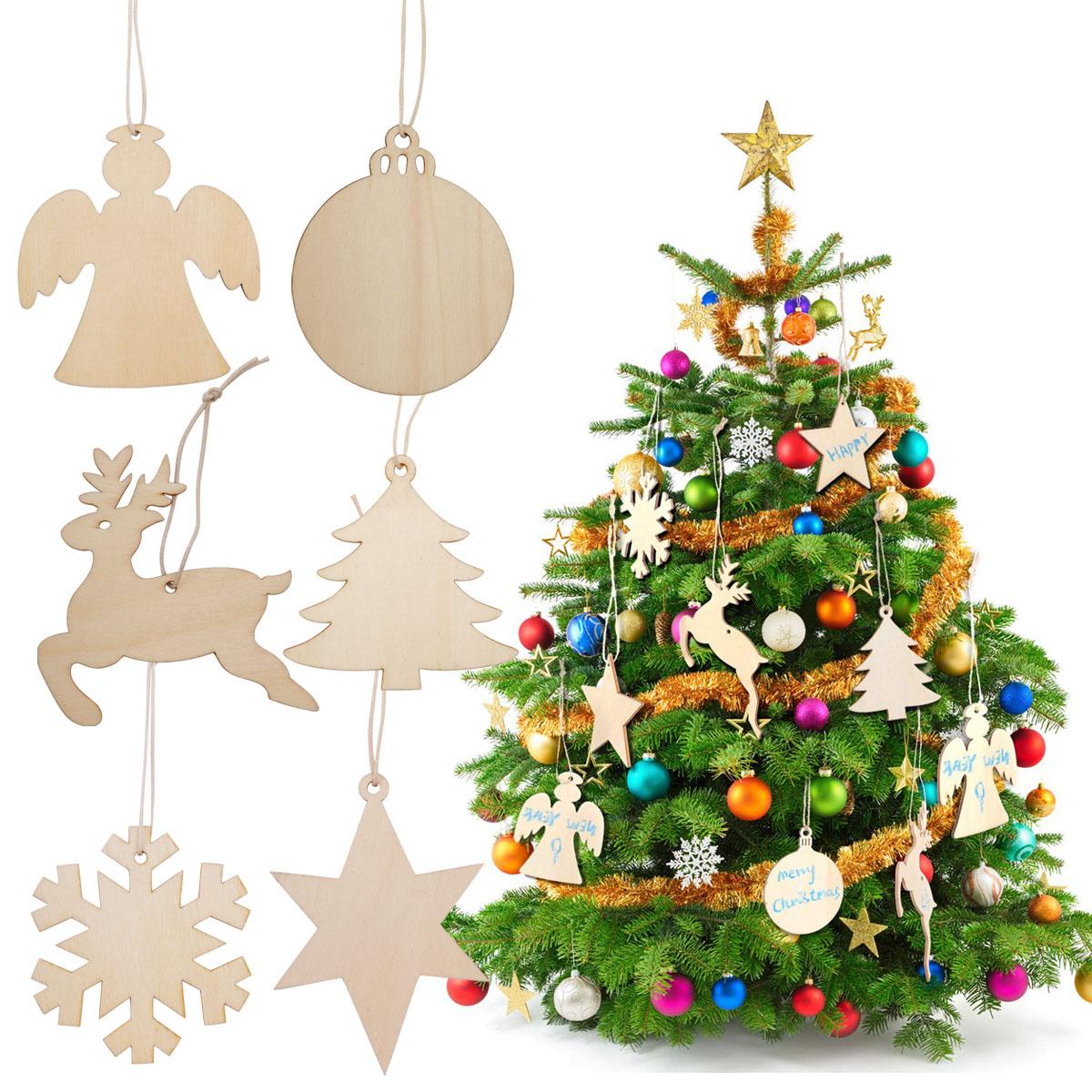 60pcs Wooden Christmas Tree Decoration Set Hanging Ornaments Pendant Gift Tags Ebay