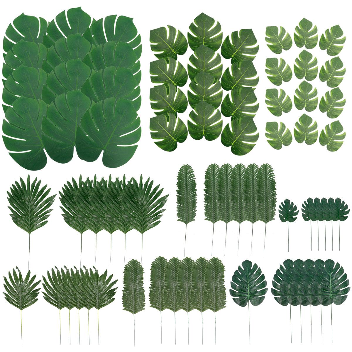 36X Tropical Hawaiian Artificial Palm Leaves Jungle Foliage Home Party Decor US