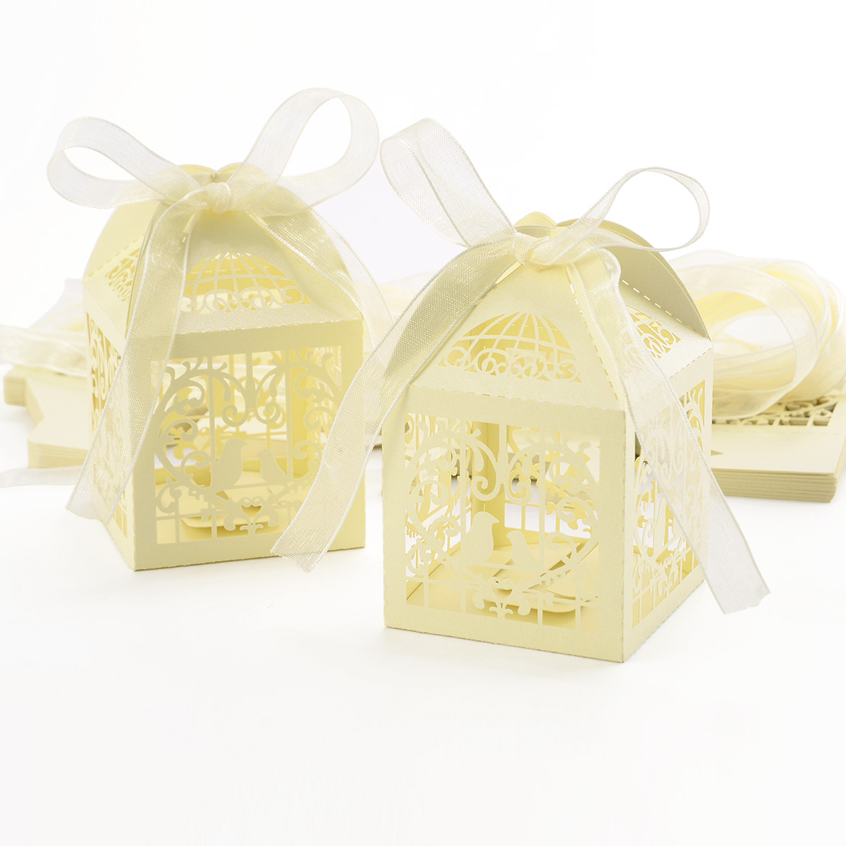 25x White Laser Cut Small Wedding Favour Boxes with Ribbon Party ...