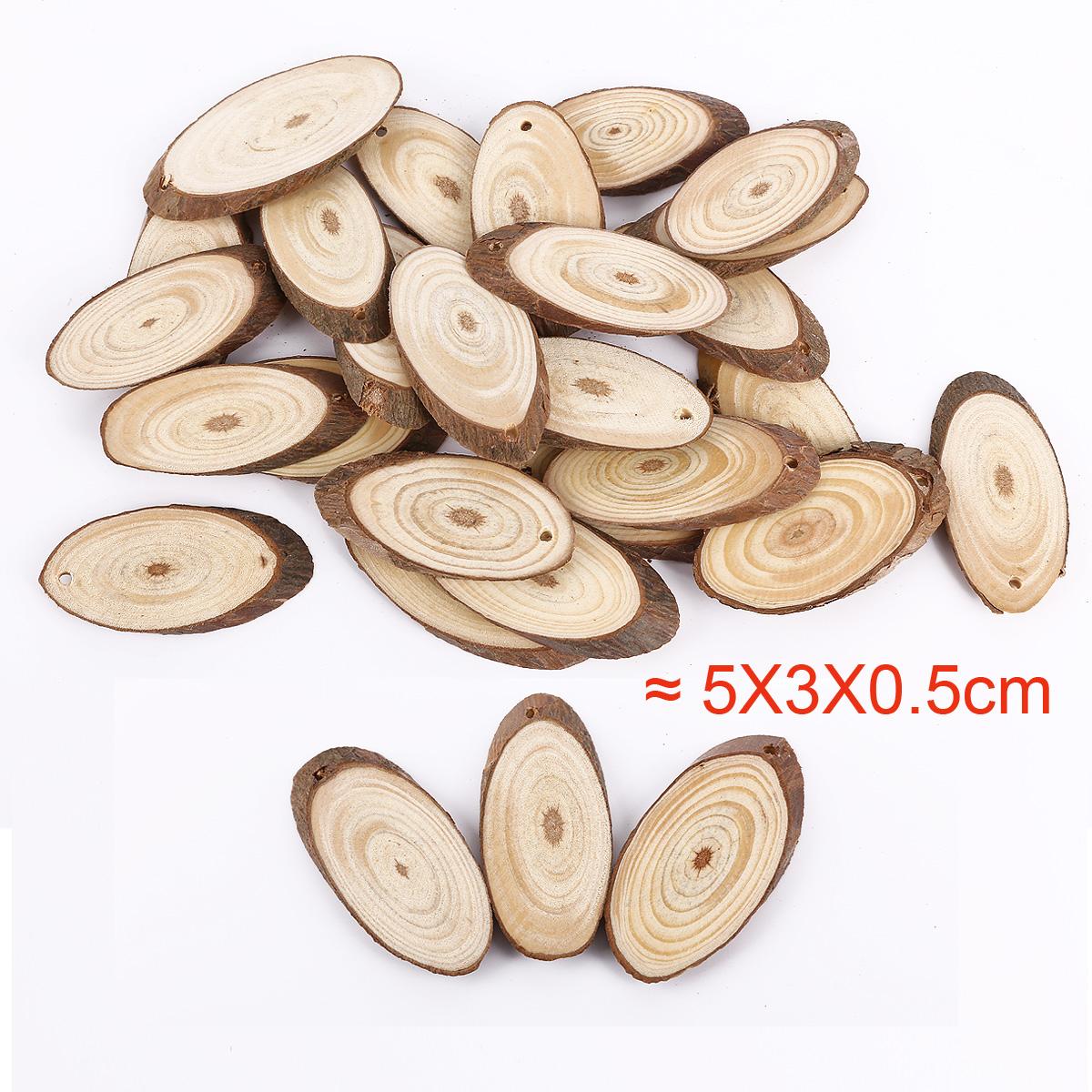 Wooden Log Slices Discs Natural Tree Bark Decorative Round
