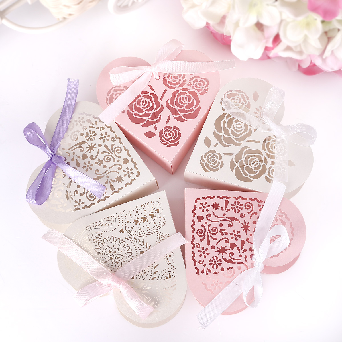 25x Romantic Heart DIY Candy Cookie Gift Box for Wedding + White ...