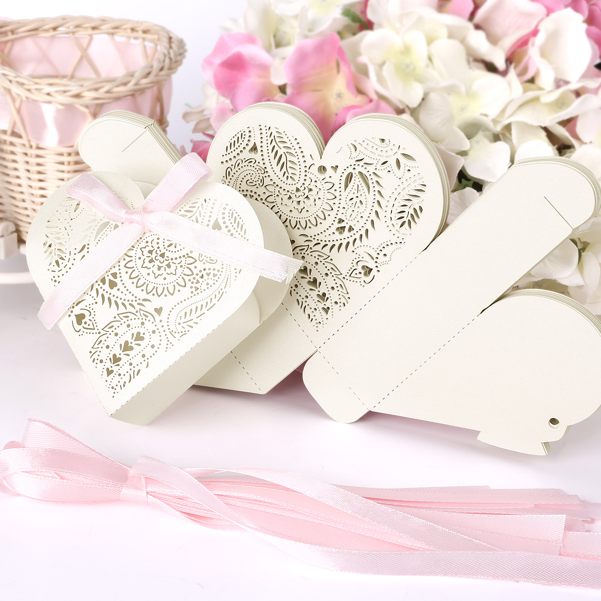 Heart Shape Favour Box Laser Cut Wedding Sweets Favor Candy Gifts ...