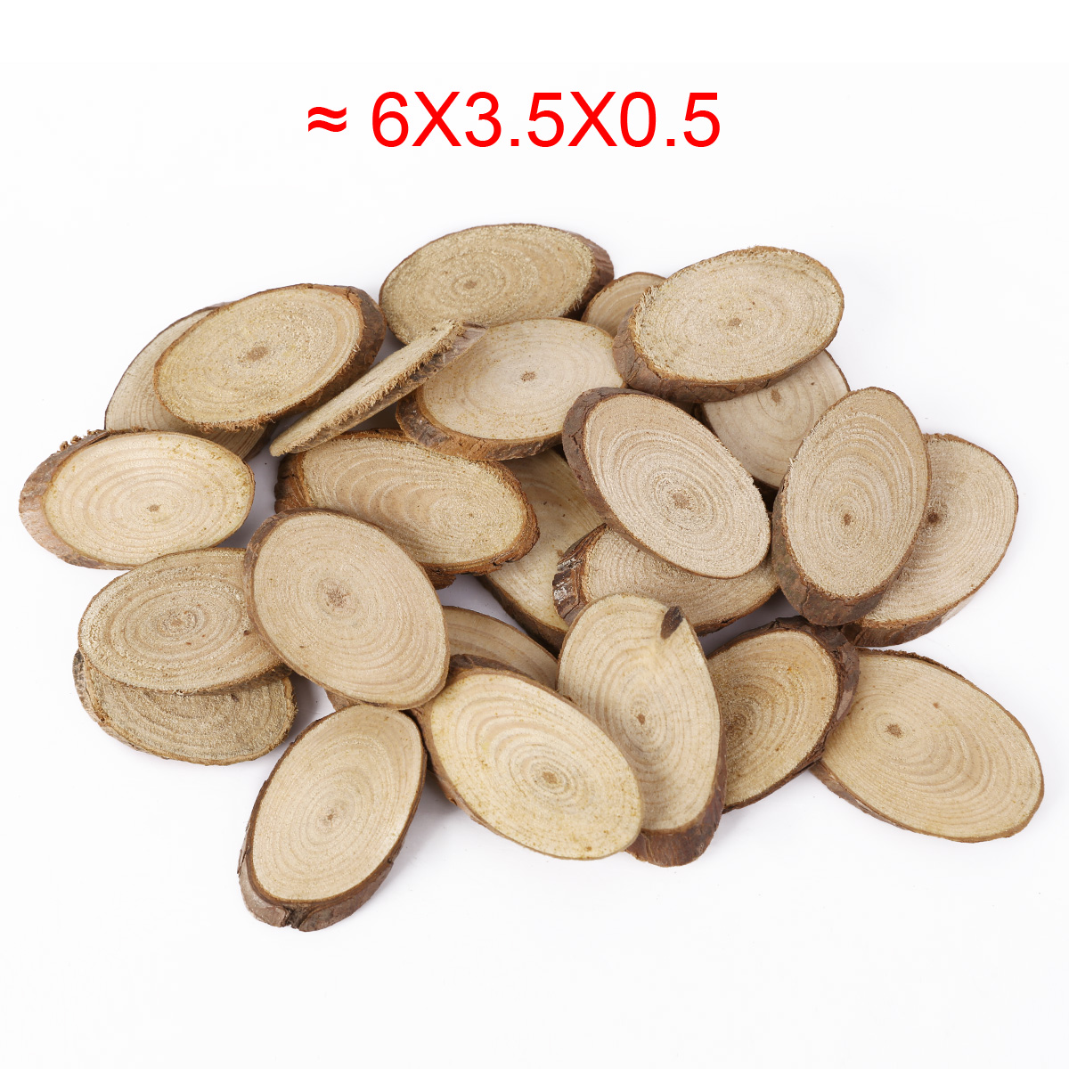 wood craft pieces 25 x wood bark 5cm slices oval cut pieces embellishment 3250
