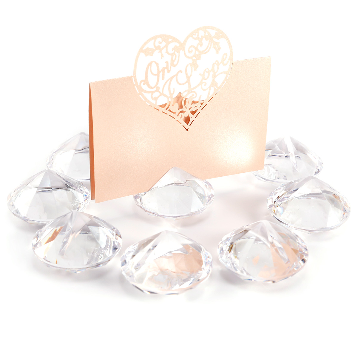 10x Diamond Effect Wedding Table Name Place Card Holders