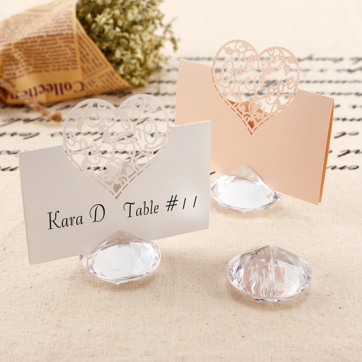 20 Acrylic//Crystal//Diamond Look Place Name Card Holders With Place Cards Wedding