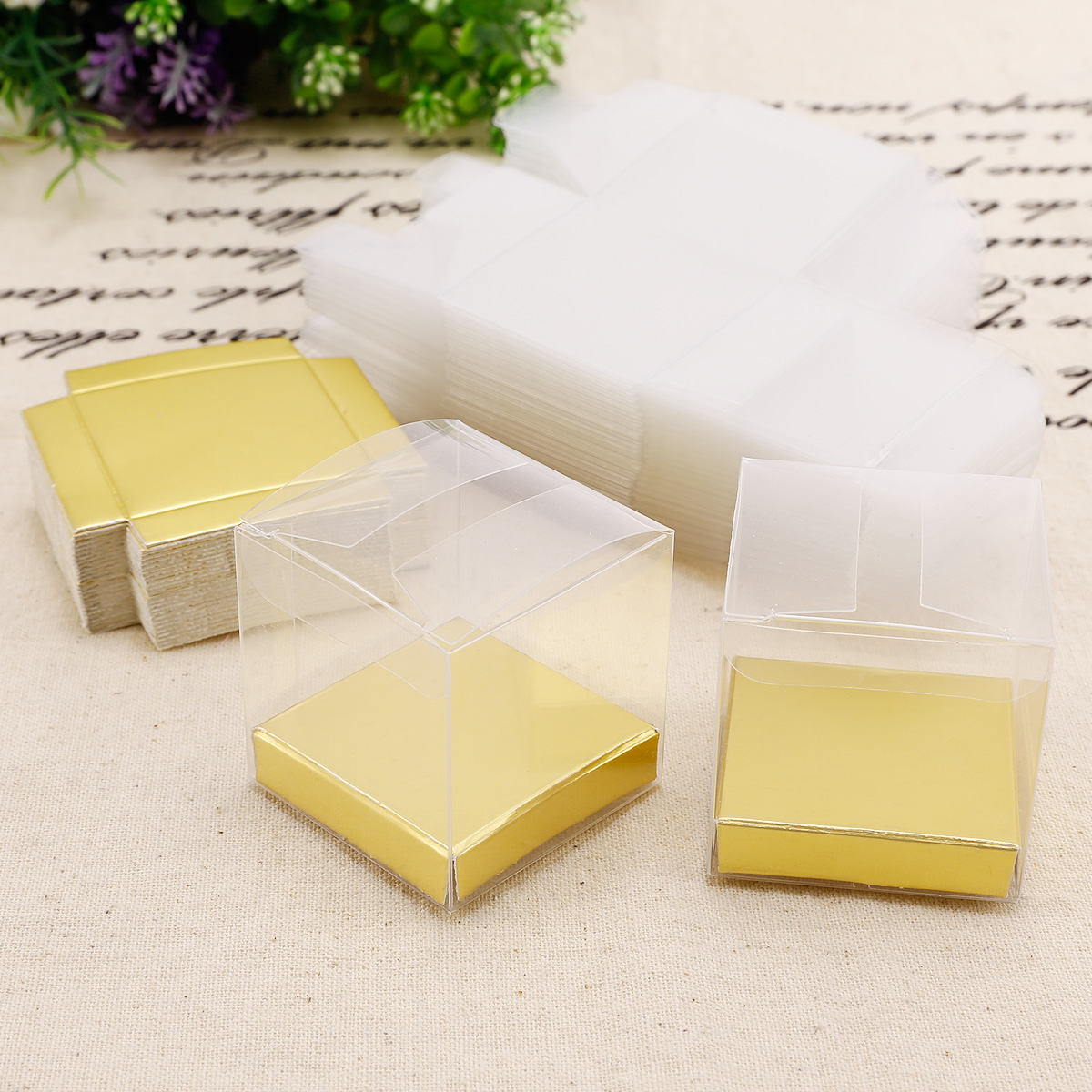 50 x Clear PVC Plastic Cube Gift Packaging Box Wedding Favour Sweet ...