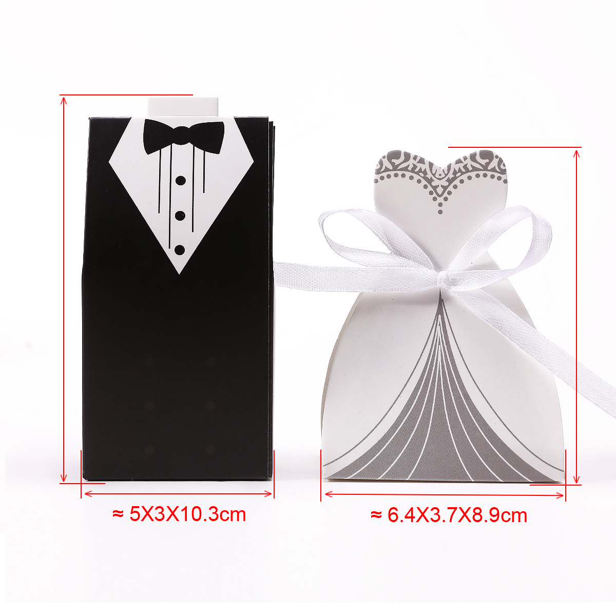 30 200 Pairs Wedding Favor Boxes Groom Bride Dress Tuxedo Shower