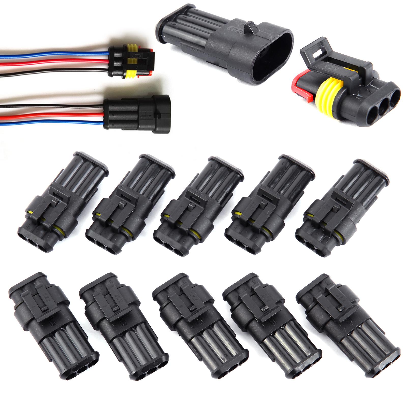 2 3 4 PIN WAY ELECTRICAL WATERPROOF CONNECTORS PLUG SET OF 5/10PCS ...