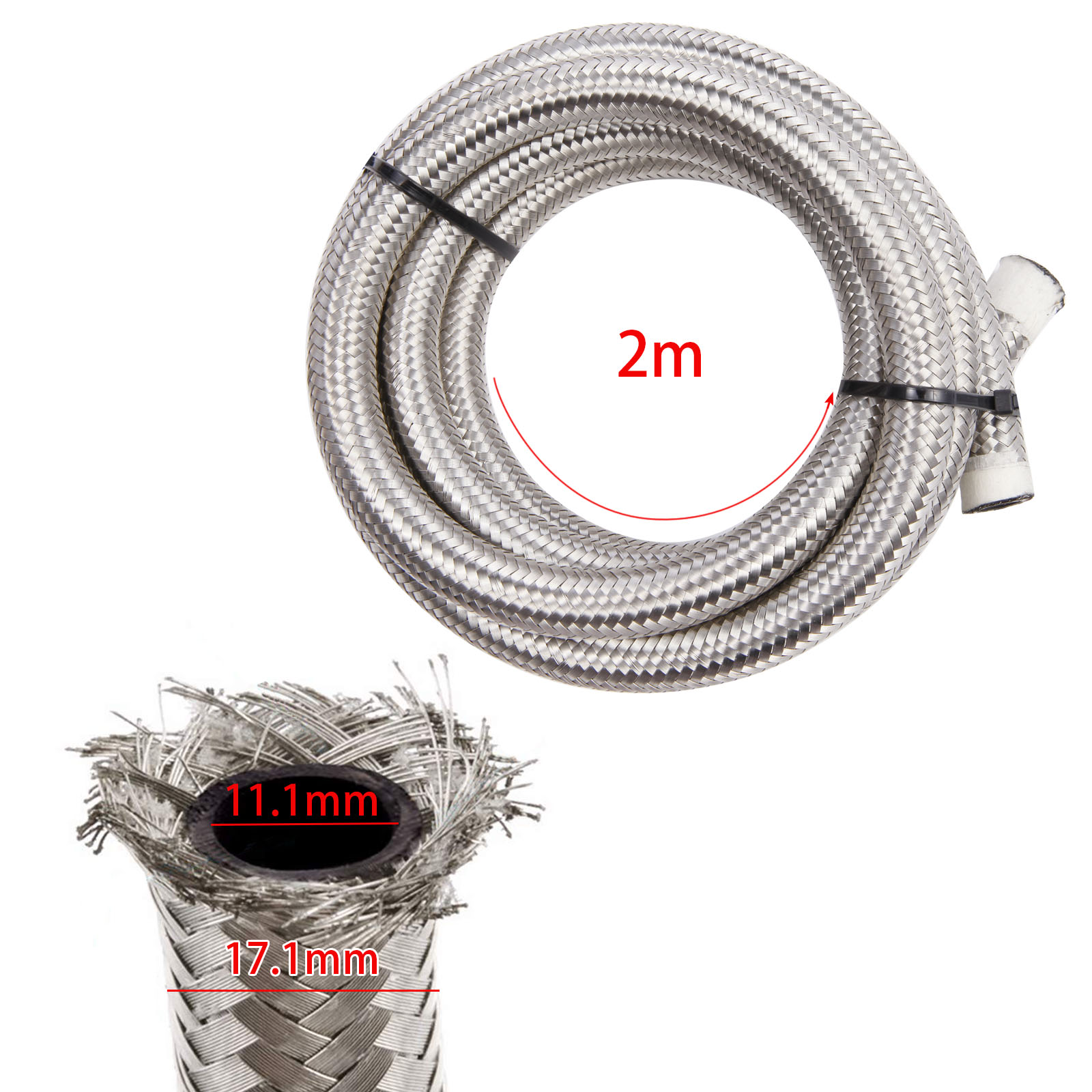 """4AN AN4 4-AN OIL FUEL LINE HOSE 2M Meter 1//4/"""" STAINLESS STEEL  BRAIDED"""